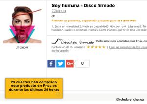 El disco #SoyHumana en la web de Fnac