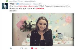Mensaje de agradecimiento de Chenoa en su perfil de Twitter
